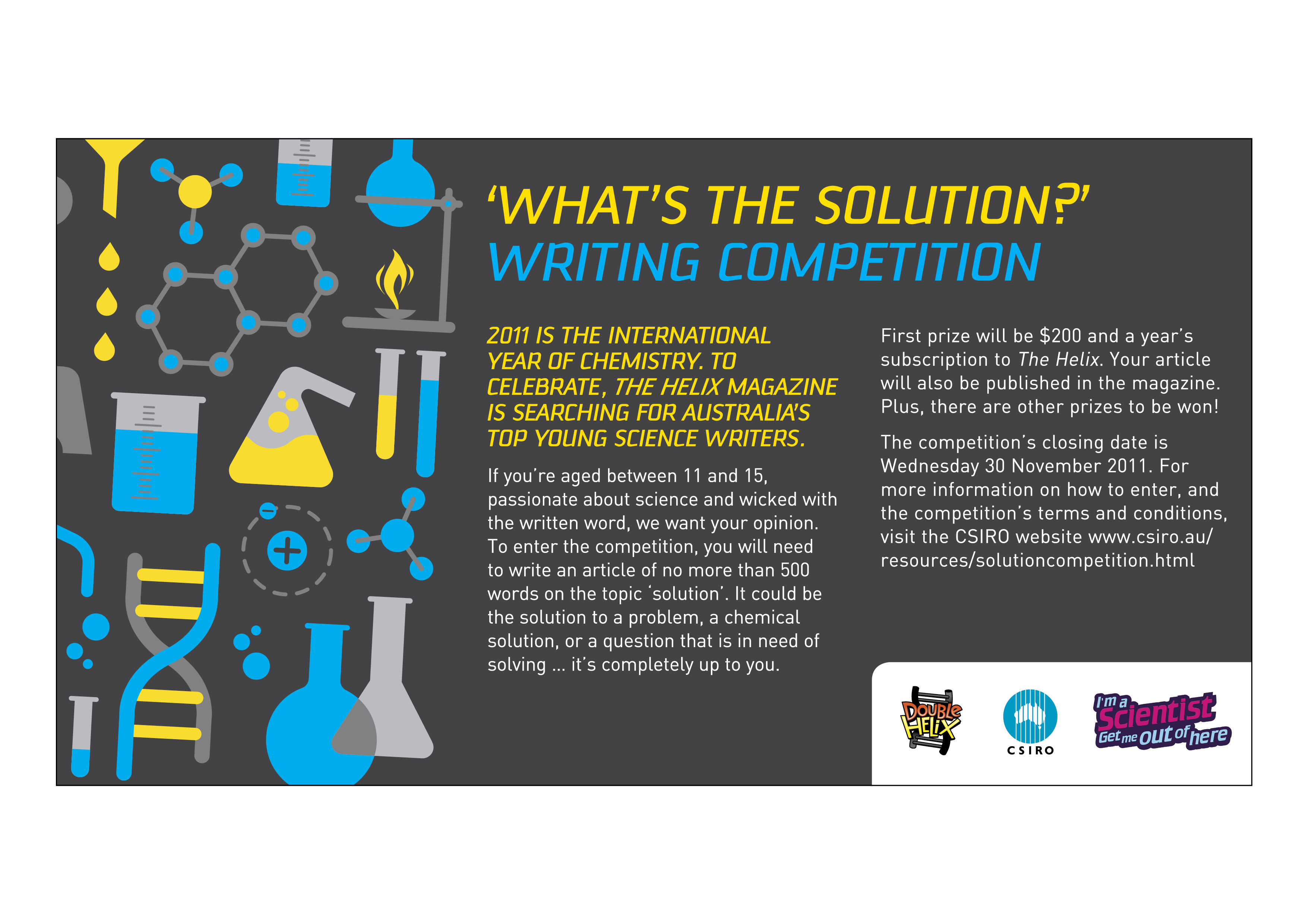 chemistry essay writing competition 2011 Earthzine invites undergraduate and graduate students from around the world to submit an essay for its 2011 third annual college and university student essay and blogging contest.